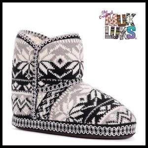 MUK LUKS ANKLE BOOTIES COZY SLIPPER BOOTS A2C